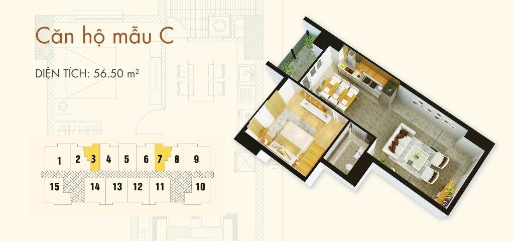mat bang thiet ke can ho-56m2-chung-cu-C37 bo cong an bac-ha-tower